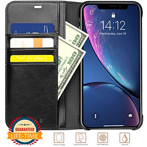- iPhone X XS Wallet Case Black Flip Luxury Genuine Leather Protective Cases with Card Holder for Men Scratch-Proof Covers Support Wireless Charging (Black, iPhone X/XS)