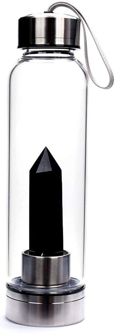 Vista Crystal Natural Black Obsidian Crystal Water Bottle
