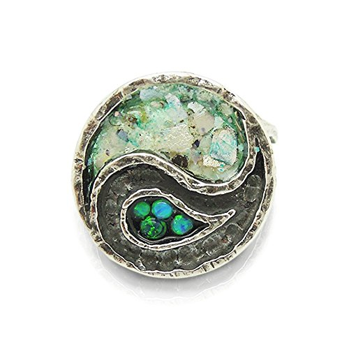 Yin Yang ring with mosaic opal & Roman glass