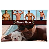 Shemar Franklin Moore Actor and Model with His Cute Puppy Muscle Show Personalized Roomy Zippered Pillow Case 30x20 (One Side)