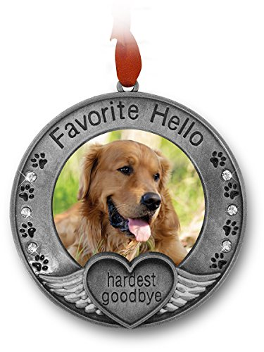 Pewter Angel Photo Frame Ornaments (Pet Memorial Ornament - Picture Ornament for a Pet - Engraved with the Saying Favorite Hello, Hardest Goodbye - Pet Remembrance)