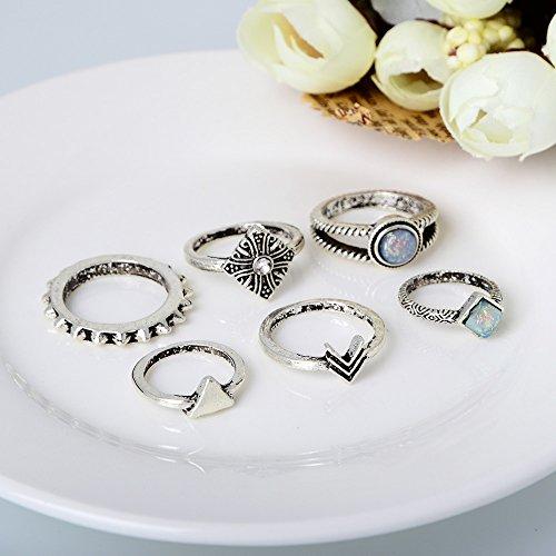 Retro fashion minimaliste triangulaire diamant bague 6pcs