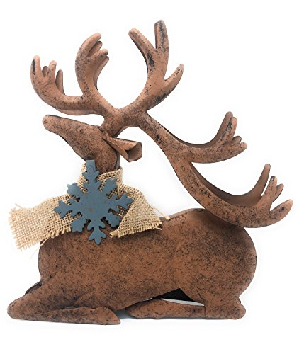 Outdoor Nativity Figurines - D.I.D. Reindeer Metal Rustic Statue Christmas Holiday Home Office Room Barn Decor Figurines Fireplace Indoor Outdoor Ornaments (Sitting)
