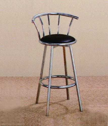 Chrome Swivel Bar Stool Set of 2 by Crown Mark
