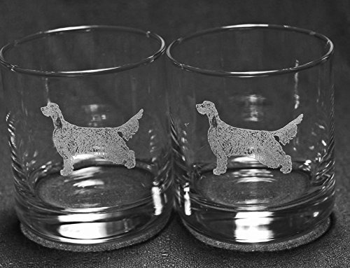 Muddy Creek Reflection English Setter Dog Laser Etched Double Old Fashioned Whiskey Glass Set (2, DOF)