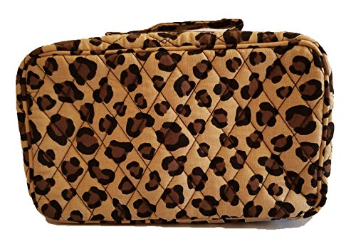 Leopard Quilted Tote - Vera Bradley Women's Blush & Brush Makeup Cosmetic Case (Winter Leopard)