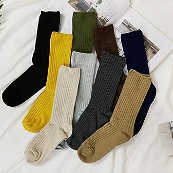 gaolim Solid Tube Socks Calcetines Algodón Calcetines 5 Par de Hombres y Mujeres amantes, caqui