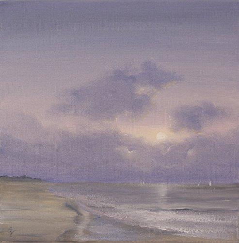 Original Coastal Landscape Oil Painting, Ocean Waves Art, Sea Painting, Handmade Oil Seascape Painting on Canvas, No Frame Needed, Lavender Mist (Eva Mist)