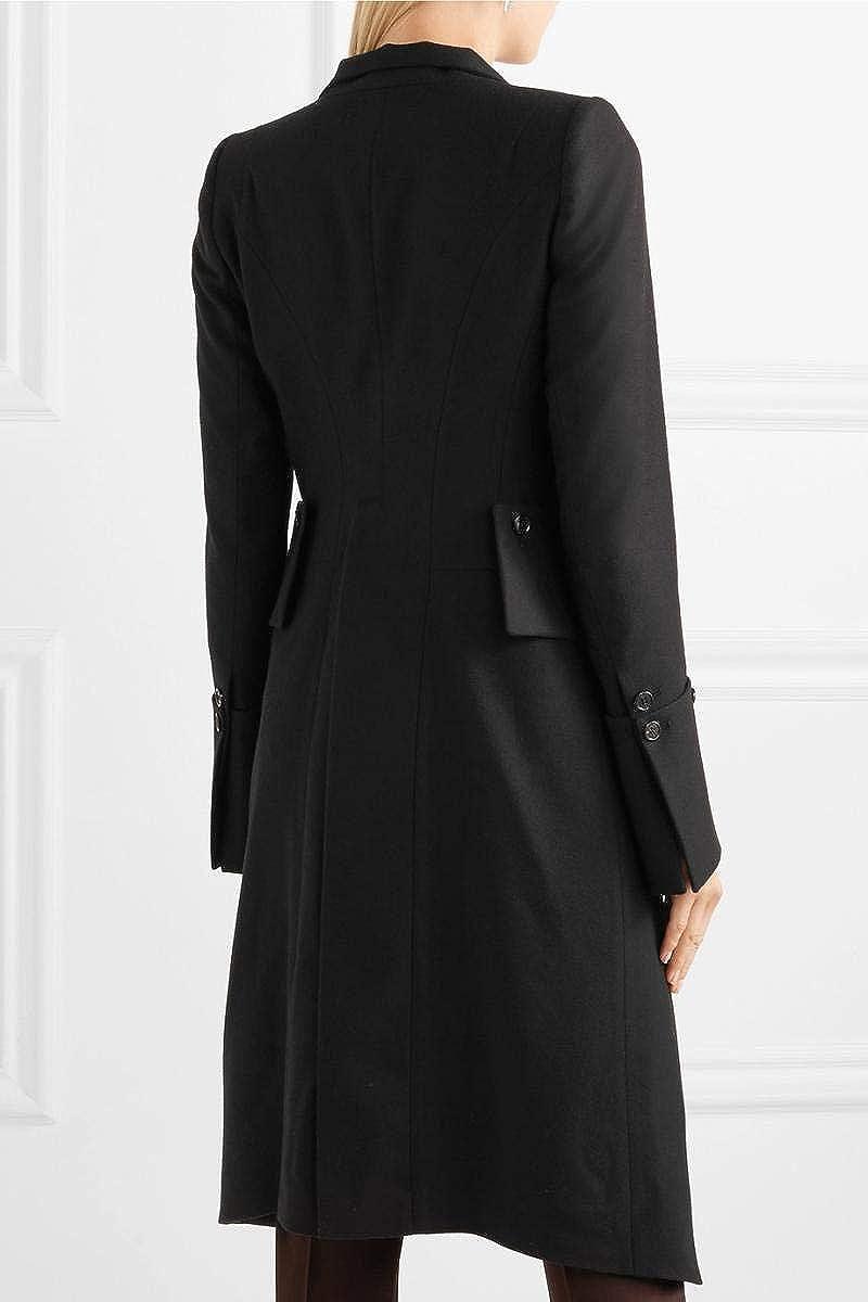 Carmonoudi uk 2018 Women Autumn//Winter Stand Collar Layered Double-Breasted Coat