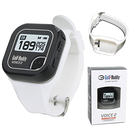 Golf Buddy Bundle Voice 2 Easy-to-Use Talking GPS, Black Voice 2 White Wristband