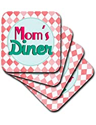 3dRose Moms Diner sign on red. Retro hot pink turquoise teal blue 1950s 50s fifties kitchen Mothers day - Soft Coasters, set of 4 (cst_151660_1)