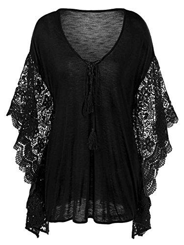 Butterfly Plus Size T-shirt (Plus Size Butterfly Sleeve Crochet Trim Blouse Lace Tops)