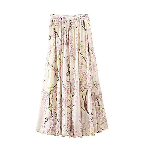 Lucky staryuan ® Frauen Falten Jahrgang die Röcke Blumen Drucken Rock Stil 5