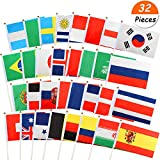 VAMEI Stick Flags Hand Held Mini Flag On Stick Round Top 32 Countries Party Decorations Supplies 2018 World Cup