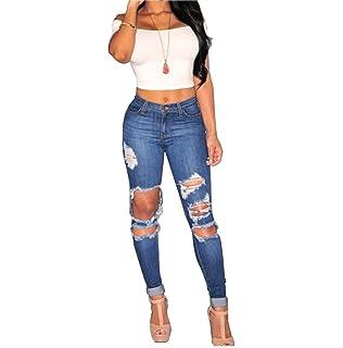 6650c186995fc Anaisy Pantalons Jeans pour Dames Stretch Mode Fissures Déchirés Jeans  Skinny Pantalons Bouton Poches Jeune Devant