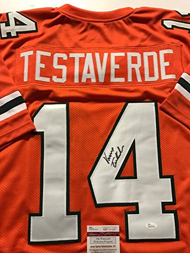 Autographed/Signed Vinny Testaverde Miami Hurricanes Orange Football Jersey JSA COA