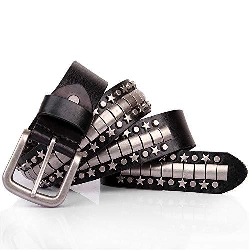 Dig dog bone Leather Belt for Unisex Adults Gothic Belts Handmade Steampunk Studded Punk Rock Blet (Size : 115cm) ()