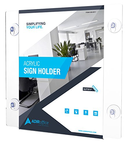 AdirOffice Acrylic Window Sign Holder with Suction Cups 2 Pack (24 Pack ()