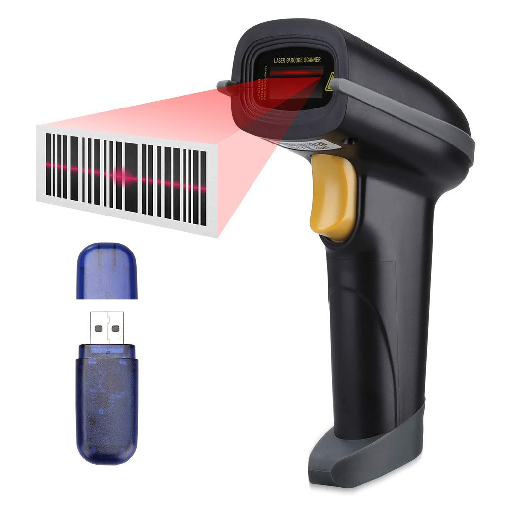 SLYPNOS Handheld Barcode Scanner, Bluetooth & 2.4Ghz Wireless & USB Wired, Up to 100m receive range, Rechargeable Barcode Reader for Apple iOS, Android, Windows, Mac OS device, Black
