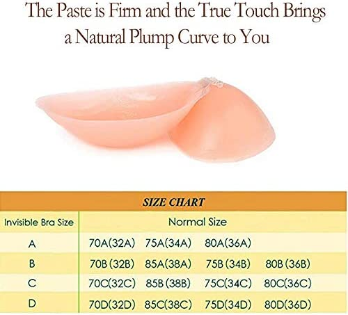 FJYQOP Adhesive Silicone Bra Sticky Strapless Reusable Invisible Push up Bras for Women Beige