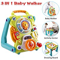 NuoPeng 3 in 1 Baby Sit-to-Stand Walker, Activity Center, Entertainment Table, Drawing Board