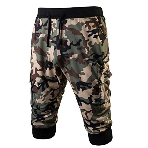 Hsumonre Men's Camouflage Mid-calf Joggers Tactical Pants Mid Military Shorts Casual Sweatpants