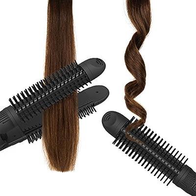 xtava 3 en 1 enderezadora y cepillo - Rizador y cepillo profesional de rizador plano de 1 pulgada - Rizador de pelo de cerámica iónico y cepillo redondo - Herramientas de peinado