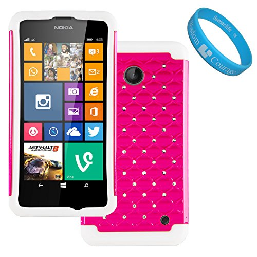 (Magenta, White) Elegant Diamond Back Cover with Additional Silicone Skin for Nokia Lumia 635 Windows Phone and SumacLife TM Wristband
