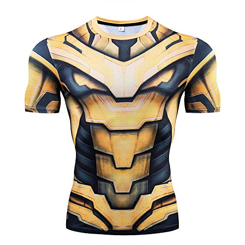 YUNYIYIS Men's Super-Hero Compression Sports Fitness Elastic T-Shirt Quick-Drying Running Thanos-short-AX026-L -