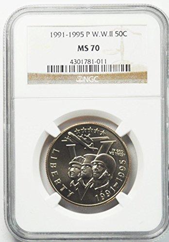 1991 P WWII Commemorative Half Dollar 1991-1995 World War II V Day 50c MS70 - Gem Dollar Commemorative Half
