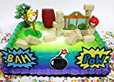 Angry Birds Birthday Cake Topper Set Featuring Angry Birds Figures and Decorative Themed Accessories