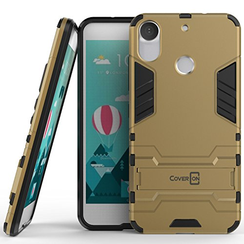 HTC Desire 10 Pro Case, CoverON [Shadow Armor Series] Hard Slim Hybrid Kickstand Phone Cover Case for HTC Desire 10 Pro - Gold / (Pro Shadow)