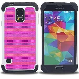 """SAMSUNG Galaxy S5 V / i9600 / SM-G900 - 3 en 1 impreso colorido de Altas Prestaciones PC Funda chaqueta Negro cubierta gel silicona suave (Pink Purple Pattern Líneas de verano"""")"""