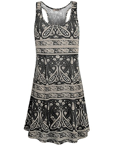 Hibelle Sleeveless Dress, Womens Round Neck Pattern Flowy Knit Basic Razorback Tank Dress for Summer Black L ()