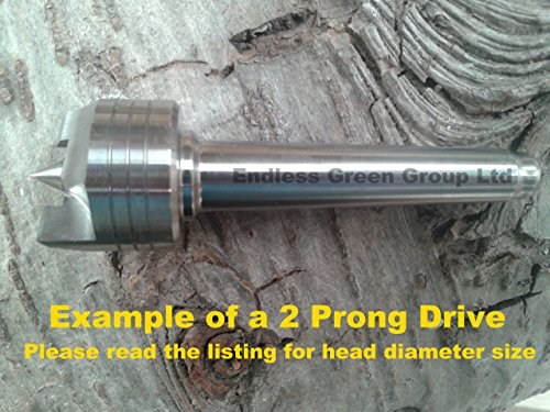 Endlessgreen - Woodturning lathe drive - Morse Taper 2 (MT2) 2 prong drive - head diameter 1 inch (25mm) EG122 by Endless Green Group Ltd (Taper Turning Morse)