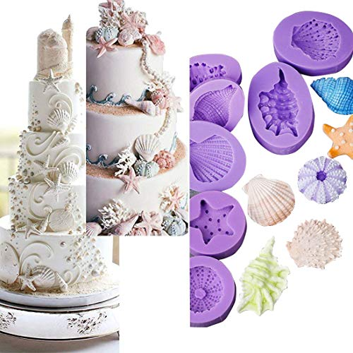 Wave Silicone (Anyana Seashell Starfish Sea Urchin Seagull mold Fondant silicone Mould for gum paste Sugar paste cake decorating cupcake topper decor set of 7pcs)