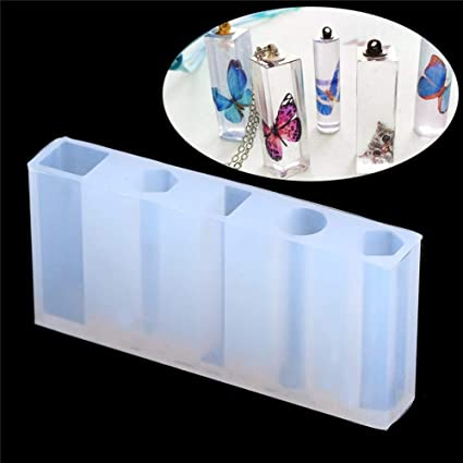 Qincling Silicone Jewelry Moulds, 5 Shapes Large Casting Resin Moulds Molds  Transparent Silicone Jewelry Pendant Moulds with 100Pcs Screw Eye Pins for