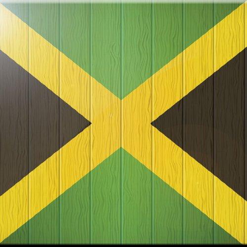 4 by 4-Inch Rikki Knight Jamaica Flag on Distressed Wood Design Art Ceramic Tile