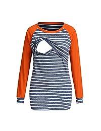 Women Pregnant Maternity Nursing Stripe Breastfeeding Top T-Shirt Blouse