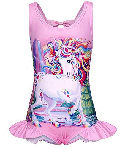 4 Piece Cherry Girl - Arielno Girls One Piece Rainbow Unicorn Swimsuit Cherry Ice Cream Bathing Suits (3-4 Years, Unicorn Pink A)