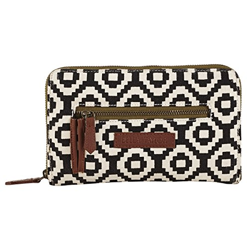Bella Taylor Pier 29 Canvas Black and White Tribal Print Design Olive (Signature Print Wallet)