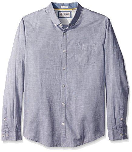 Stripe Mens Linen Shirt - Original Penguin Men's Long Sleeve Slub Linen Feeder Stripe Woven Shirt, Dark Sapphire, Large