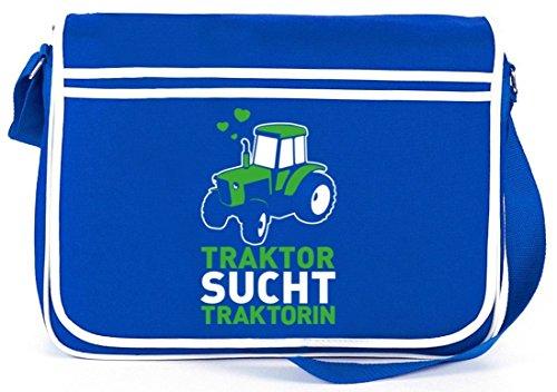 Lustige Retro Messenger Bag Kuriertasche Umhängetasche Traktor sucht Traktorin Royal Blau 36q2DND4yn