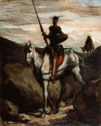 Classic Art Poster - Don Quixote in the Mountains by Honore Daumier 24 X 19.5