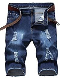 d8ccf512f3d Men's Casual Ripped Denim Shorts Jeans Distressed Stretchy Jeans Shorts  Pants