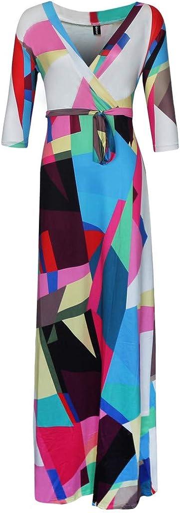perfectCOCO Womens Ball Gown V-Neck Casual Plus Size Boho Dress Floral Print Autumn Winter Maxi Dresses