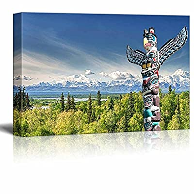 Canvas Prints Wall Art - Beautiful Totem Wood Pole in Mountain | Modern Wall Decor/Home Art Stretched Gallery Wraps Giclee Print & Wood Framed. Ready to Hang - 16