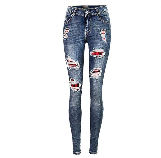 Huixin Pantalones Vaqueros para Mujer Pantalones Elásticos ...