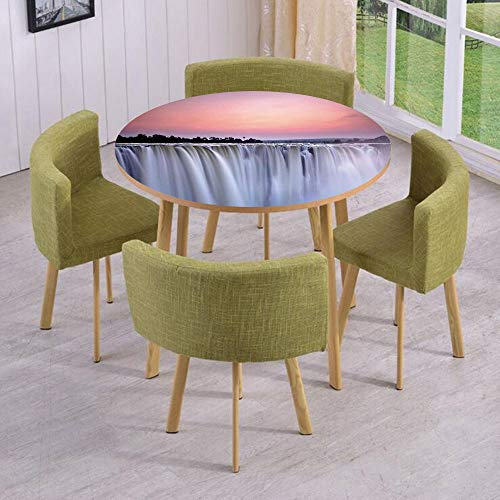 Round Table/Wall/Floor Decal Strikers,Removable,Grand Majestic Waterfalls View at Sunset in Africa Wild Mist Exotic Land Photo,for Living Room,Kitchens,Office Decoration (Waterfall Glass Clear Grande)