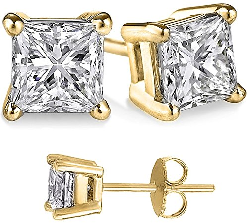(FANTOM JEWELRY Unisex Gold Overlay Solid Silver Princess Cubic Zirconia Square White Cz Stud Earrings)